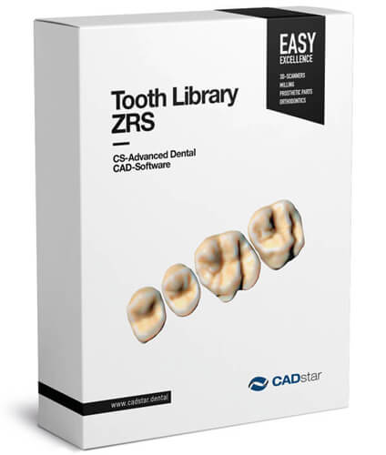 "<h4>Tooth Library ZRS</h4> <br> Additional dental libraries ""ZRS"" by Manfred Wiedmann The Exocad Base Module ​already has a large number of dental libraries. For an even greater selection, a more comprehensive library of natural teeth is available as an add-on at an affordable price. The library includes the ""Anteriores"" collection of Dr. Jan Hajtó.<p> </p><hr style=""margin-top: 15px;""><p style=""font-size: 0.85em; line-height: 1.3em; max-width: 400px; position: relative !important; margin-left: auto !important; margin-right: auto !important;""><br><strong>With the purchase of the module, you will receive:</strong><br>• 61 sets of upper jaw anterior teeth • 19 sets of lower jaw anterior teeth • 19 sets of upper jaw posterior teeth • 19 sets of lower jaw posterior teeth</p>"