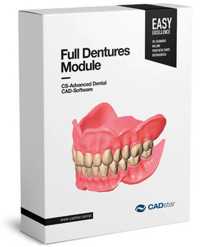 <h4>Full Dentures Module</h4> <br> The Exocad Full Dentures module the user to design complete dentures restorations. With this tool, a complete functional analysis can be done digitally followed by teeth setup suggestion; the prosthetic elements can be milled, printed or produced using a combination of these.